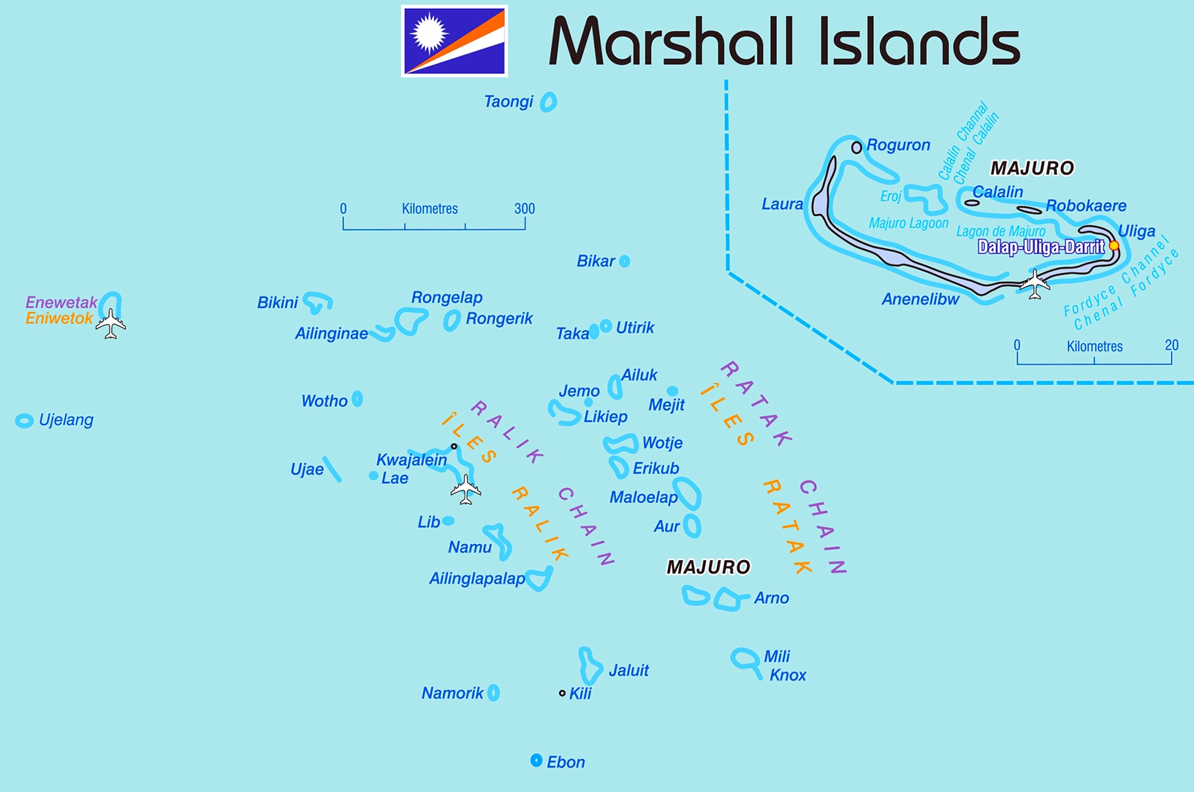 Detailed map of Marshall Islands