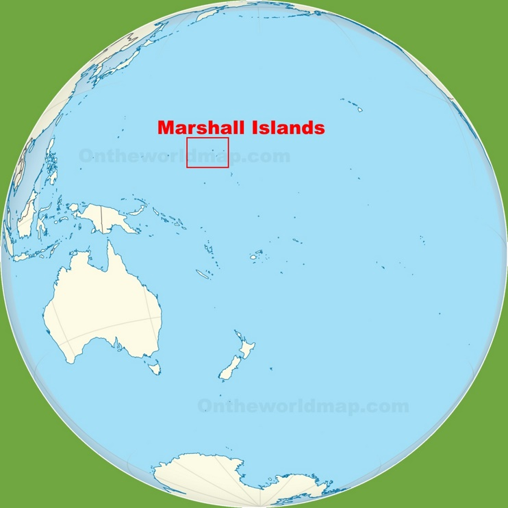 Marshall Islands location on the Pacific Ocean map