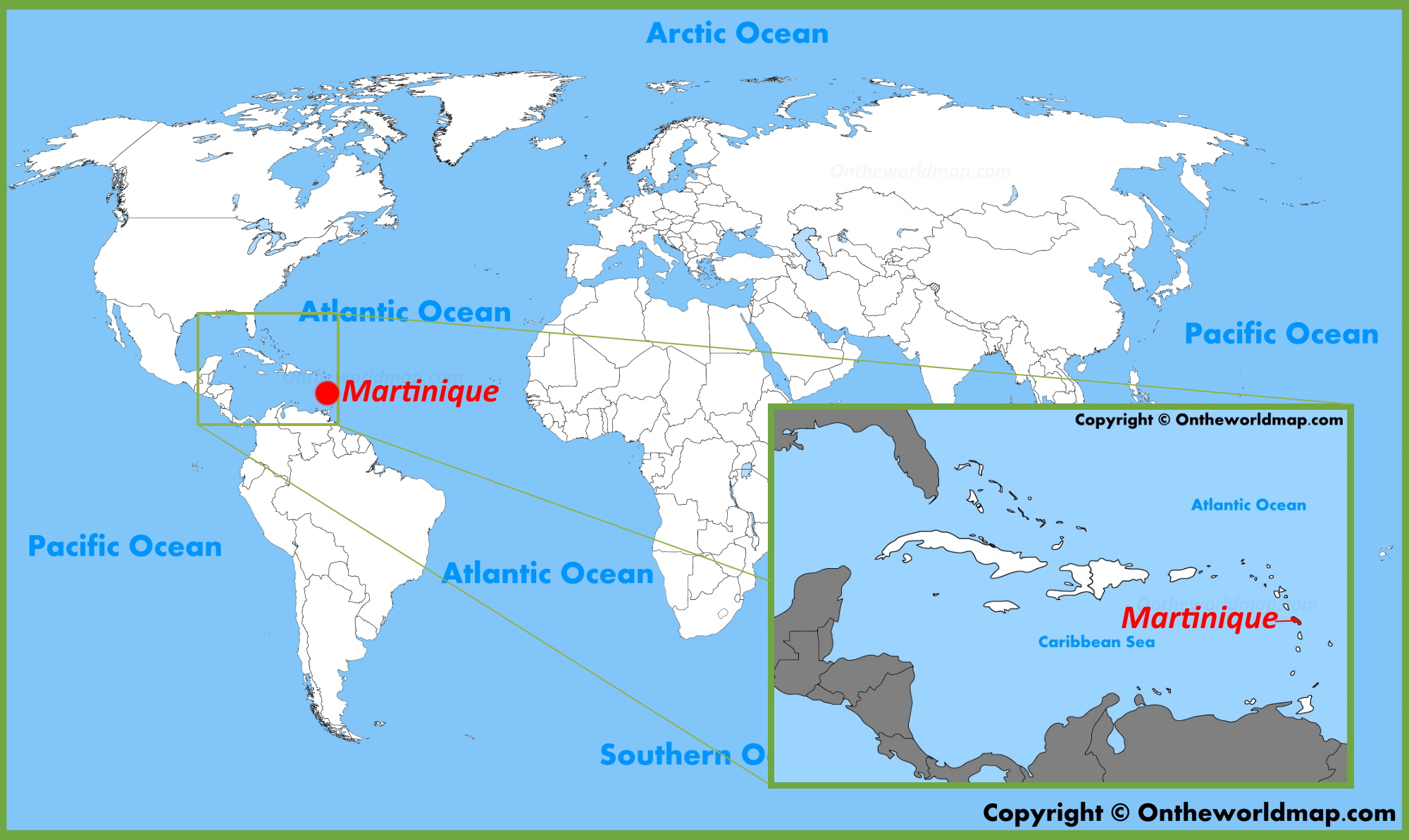 Martinique Location on the World Map