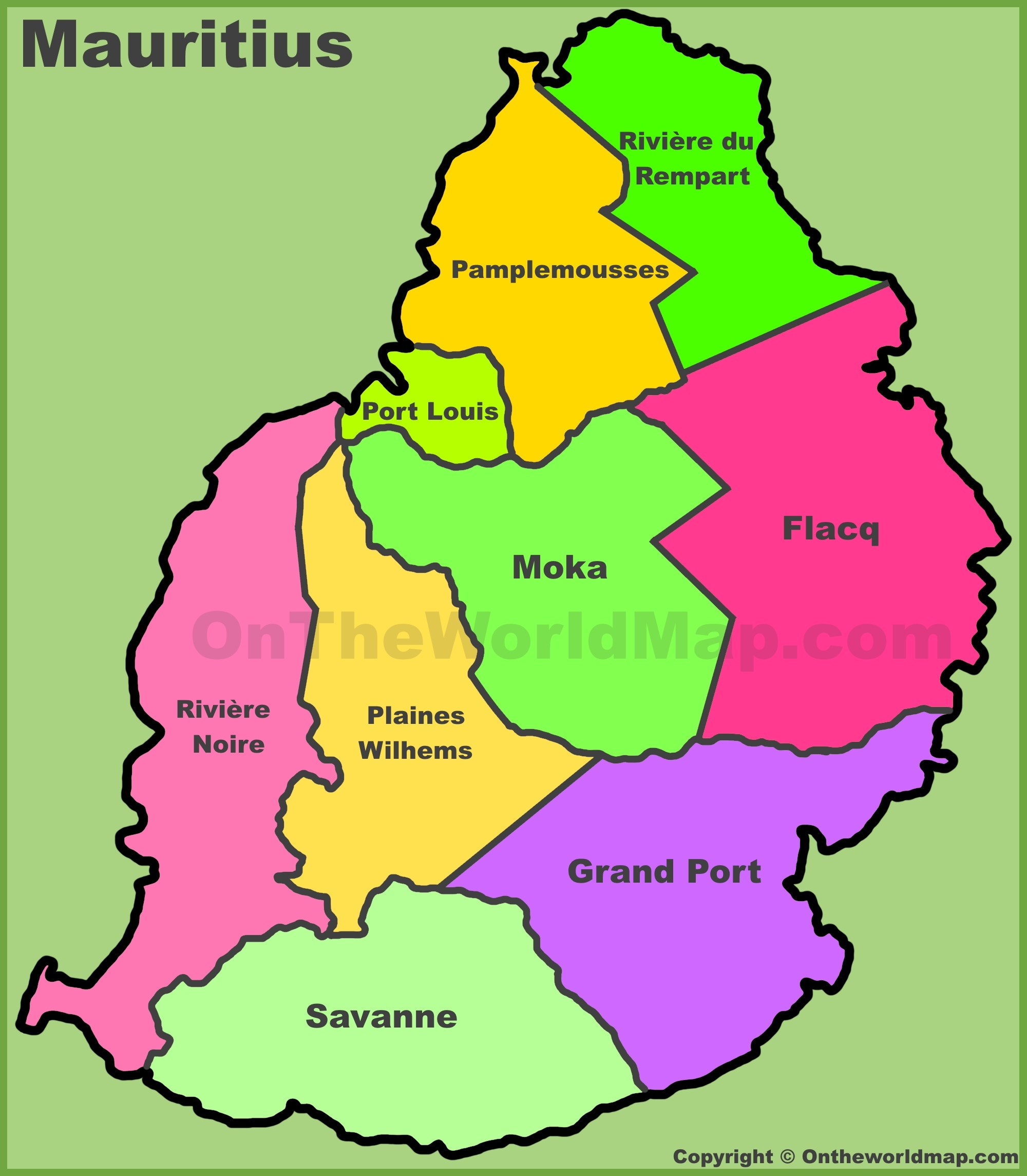Administrative Divisions Map Of Mauritius - Mauritius map