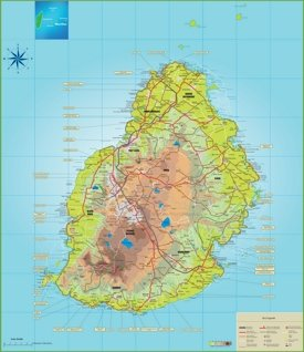 Large detailed map of Mauritius
