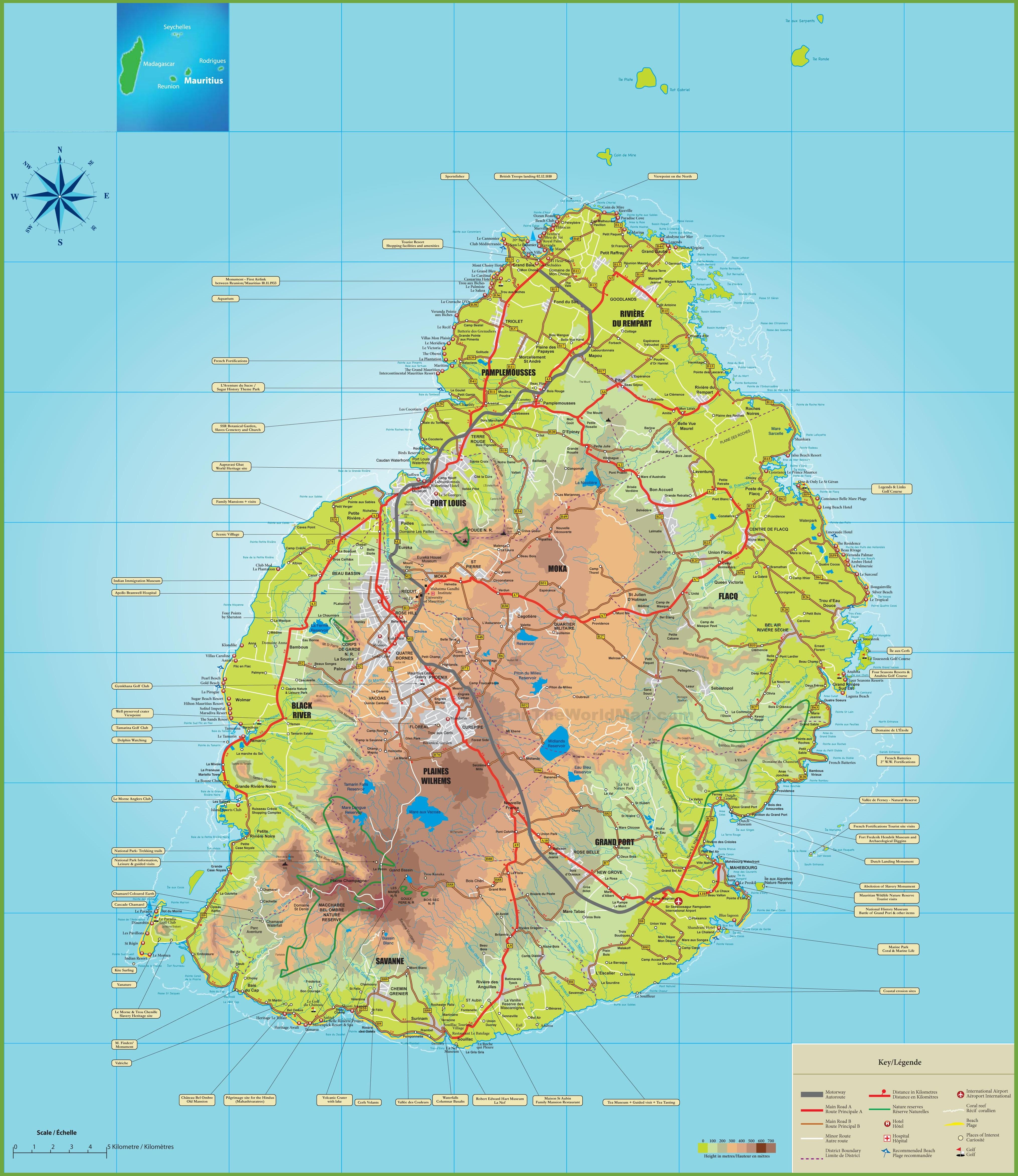 Large Detailed Map Of Mauritius - Mauritius maps