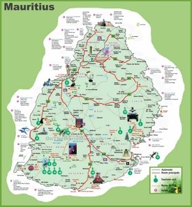 Mauritius hotel map