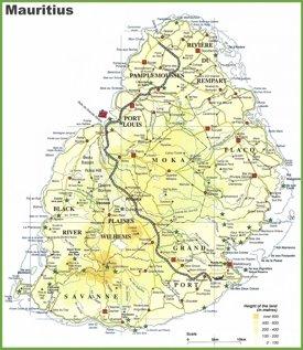 Mauritius island map