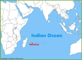 Mauritius location on the Indian Ocean map