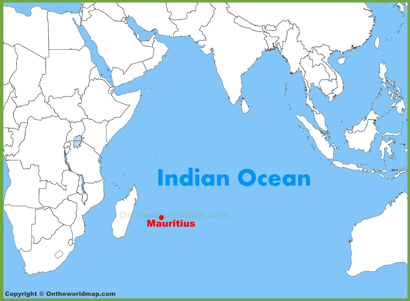 Mauritius Location On The Indian Ocean Map - Mauritius location in world map