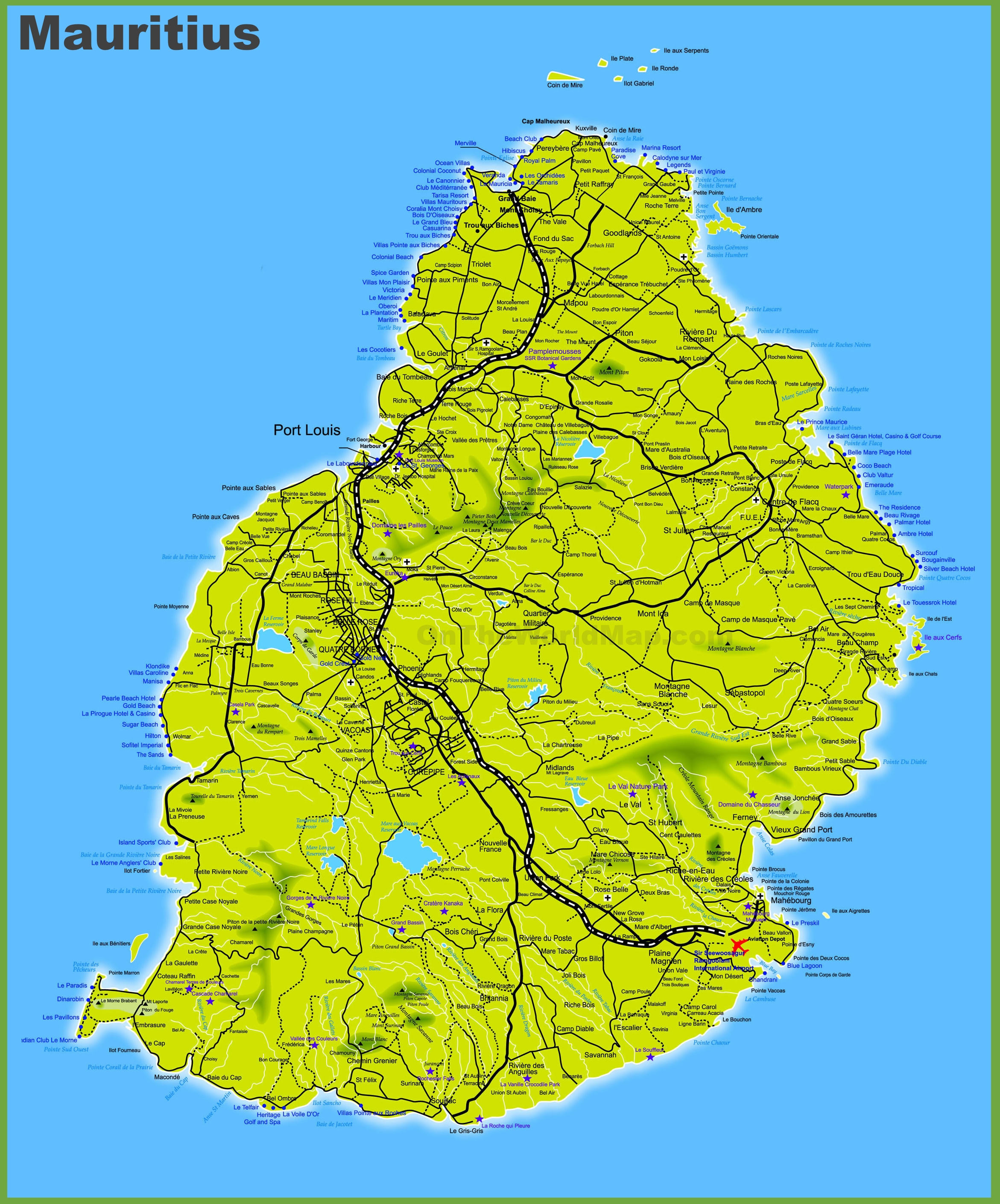 Mauritius maps maps of mauritius mauritius road map gumiabroncs Images