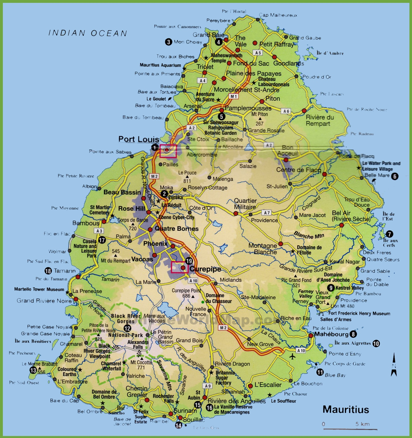 Mauritius Tourist Map - Mauritius map in world map