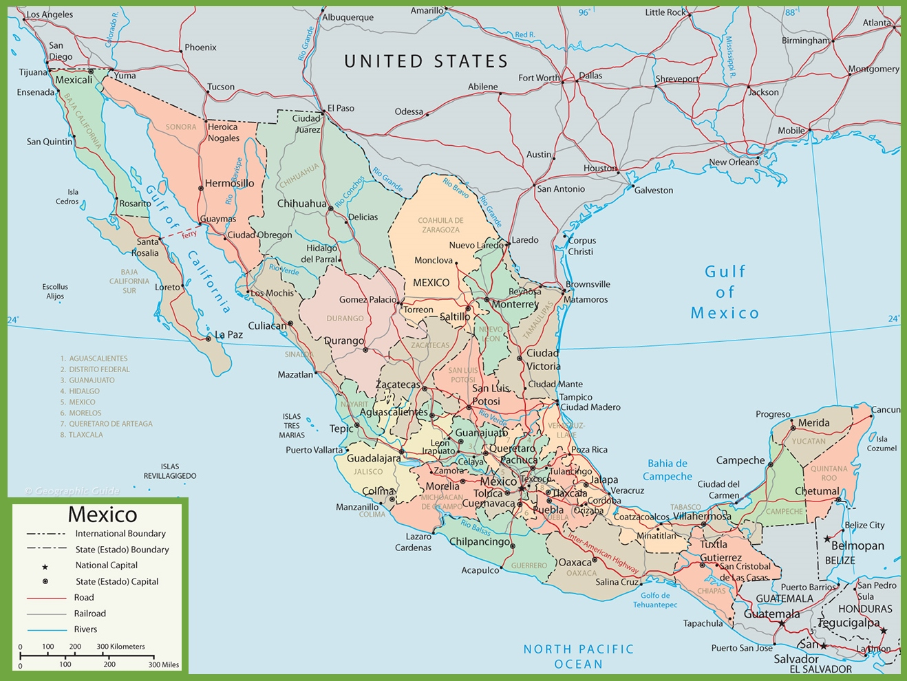 Administrative divisions map of Mexico