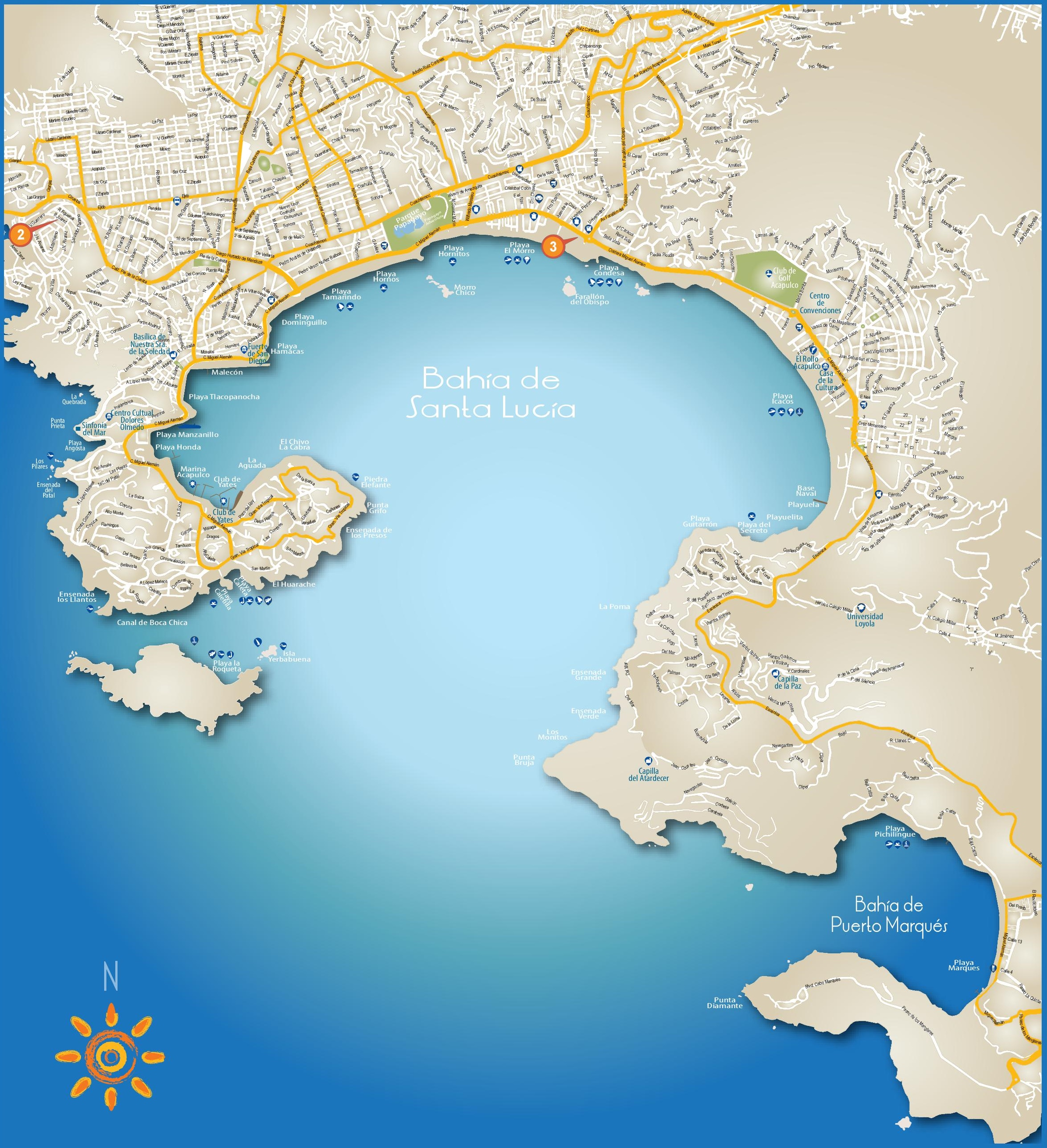 Acapulco Bay tourist map