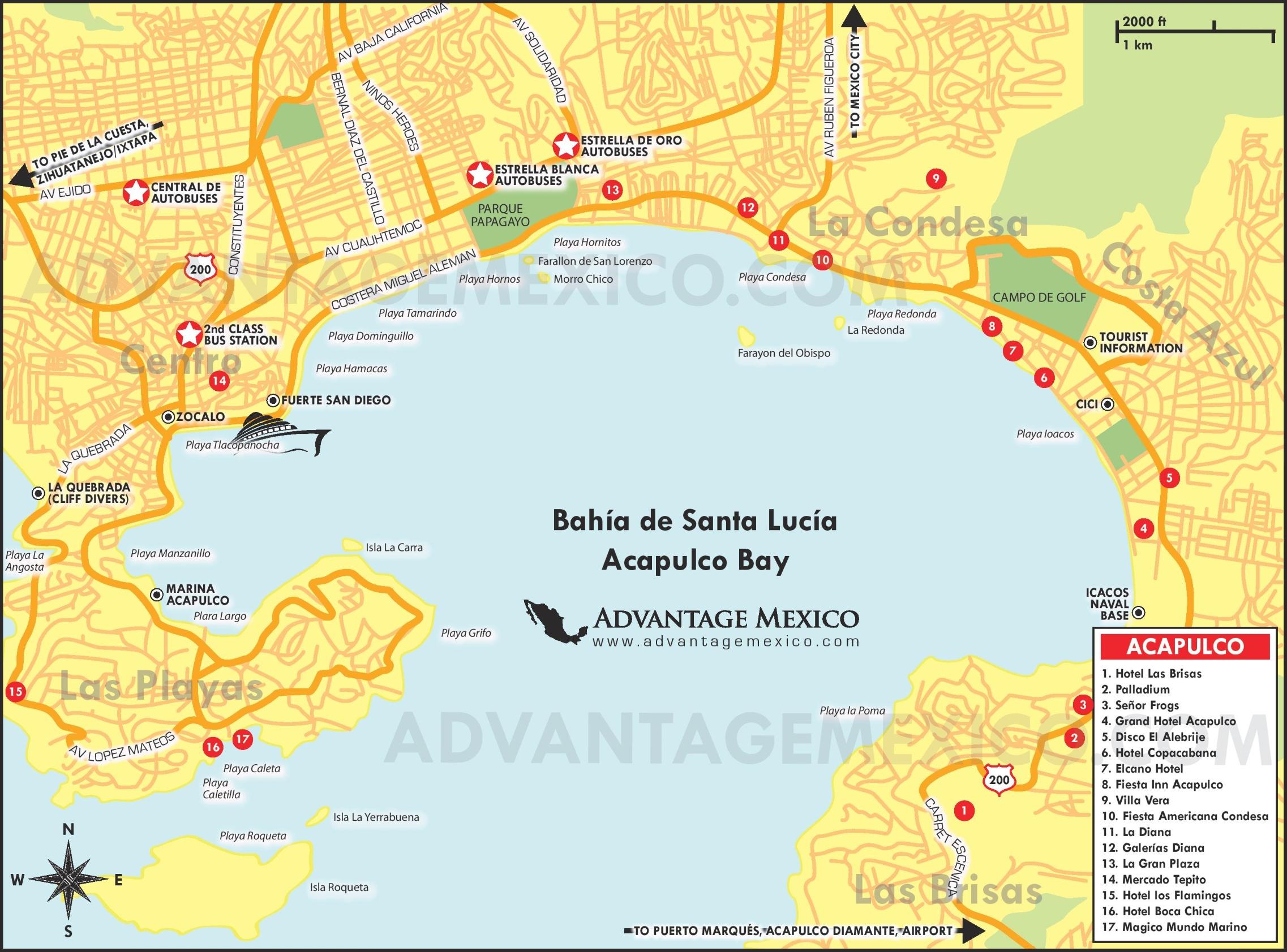 Acapulco hotel map