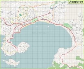 Large detailed map of Acapulco