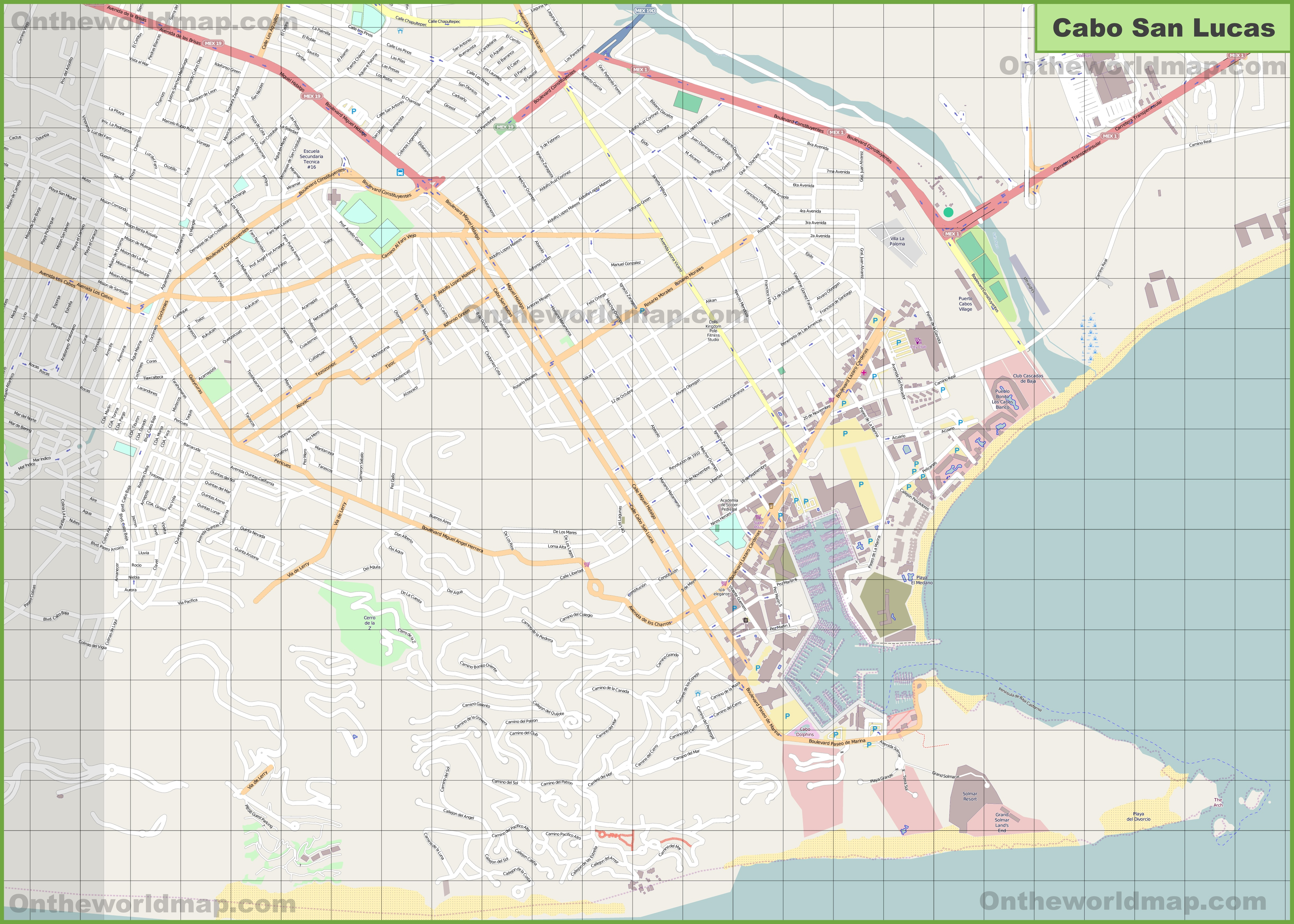 Large detailed map of Cabo San Lucas