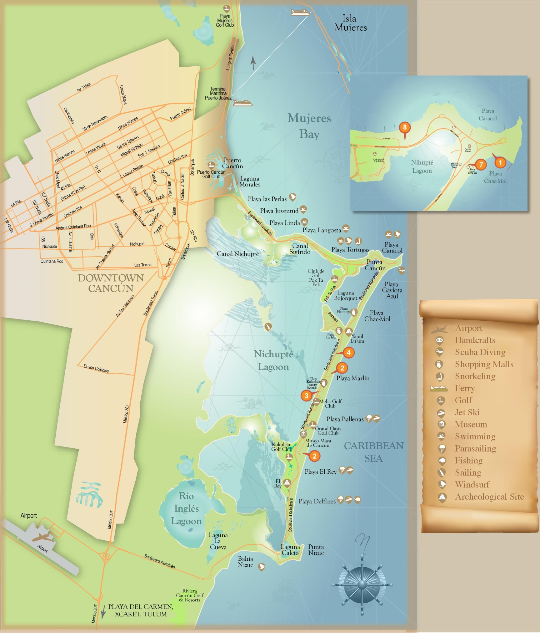 Cancn tourist map