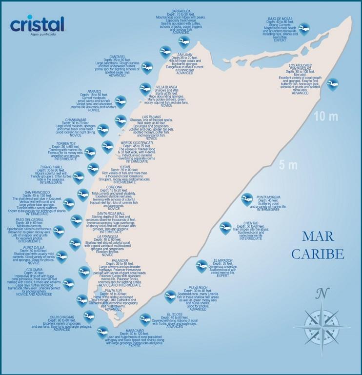 Cozumel dive sites map