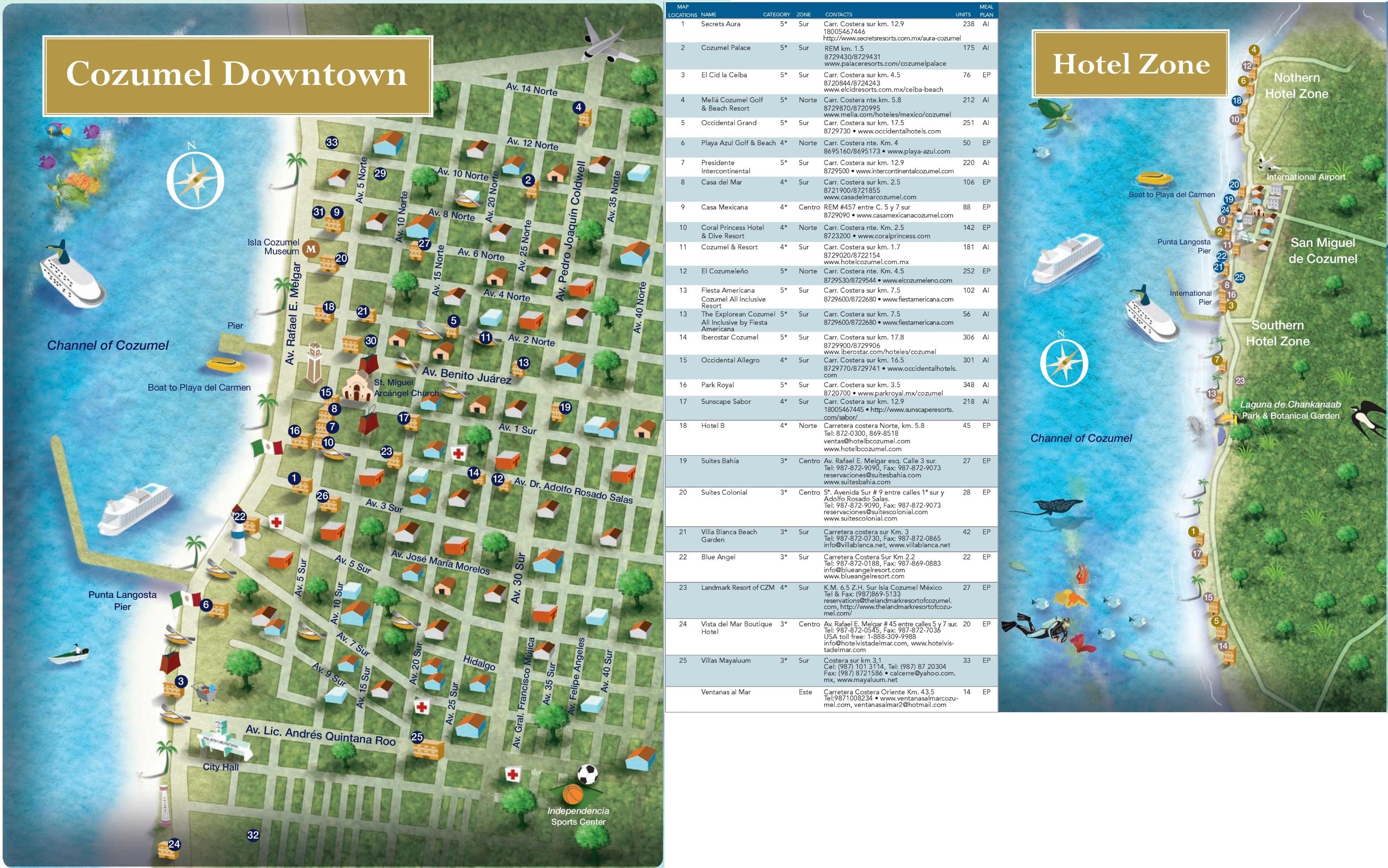 Cozumel Hotel Map