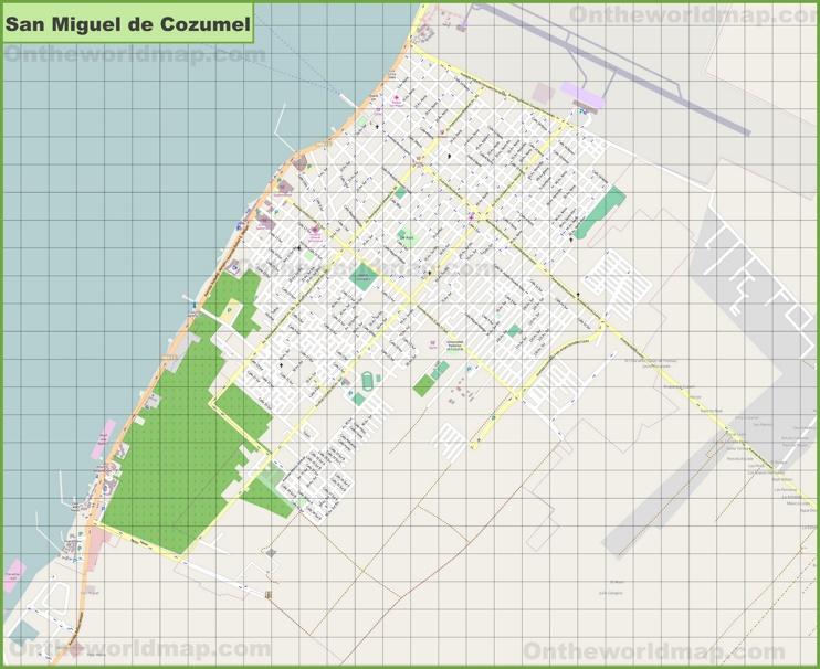 Large detailed map of San Miguel de Cozumel