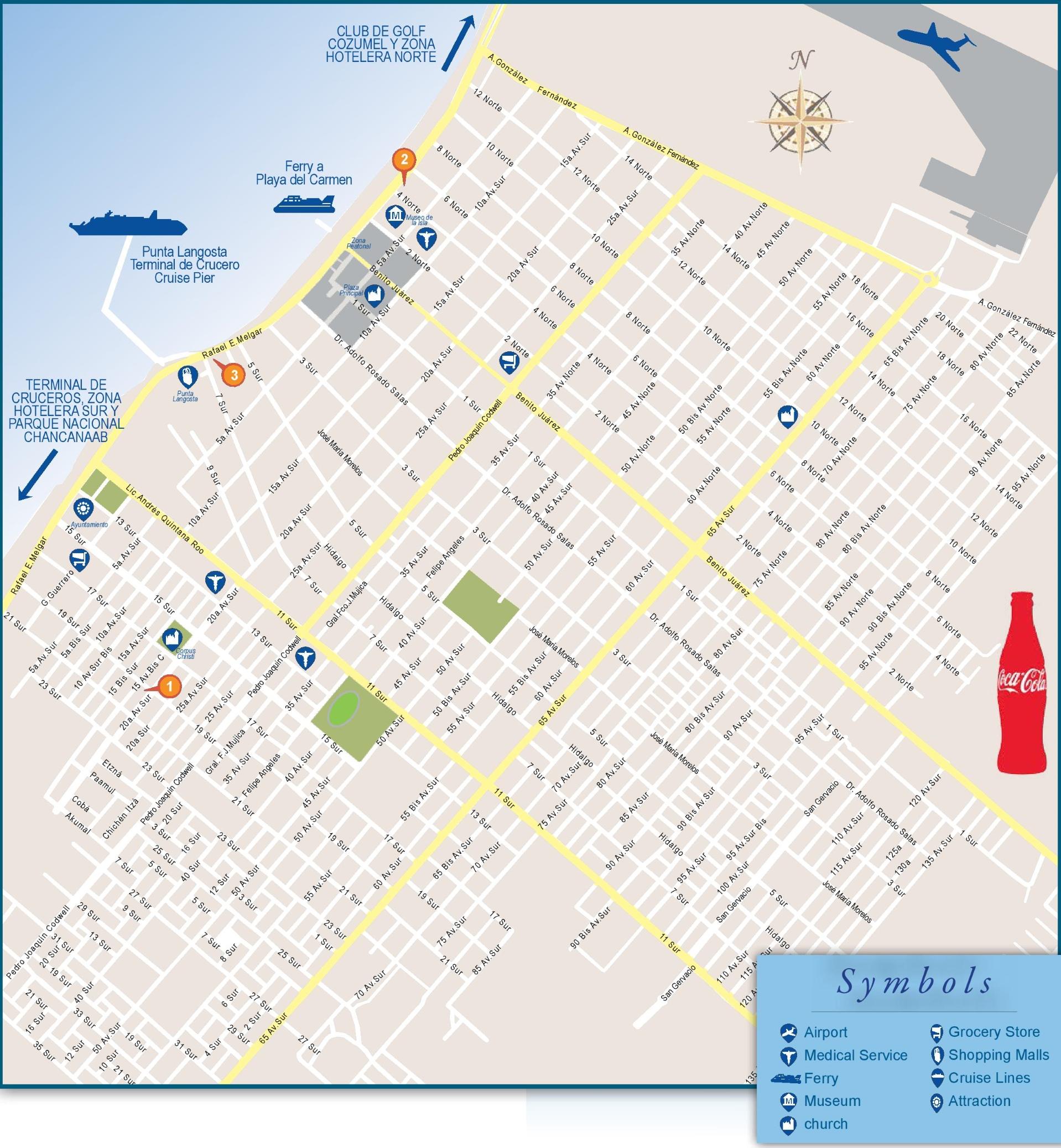 San Miguel de Cozumel tourist map