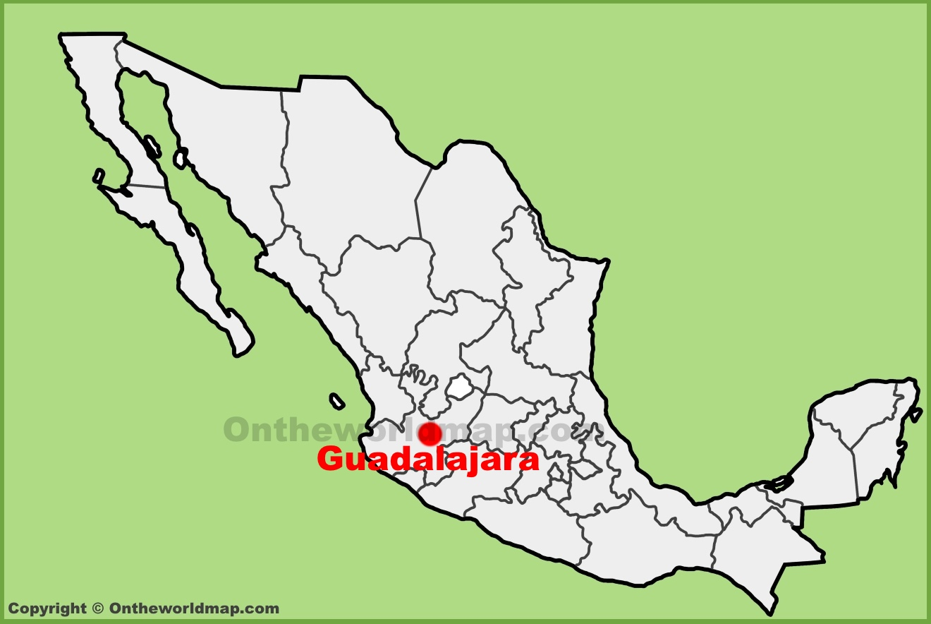 Guadalajara location on the Mexico map