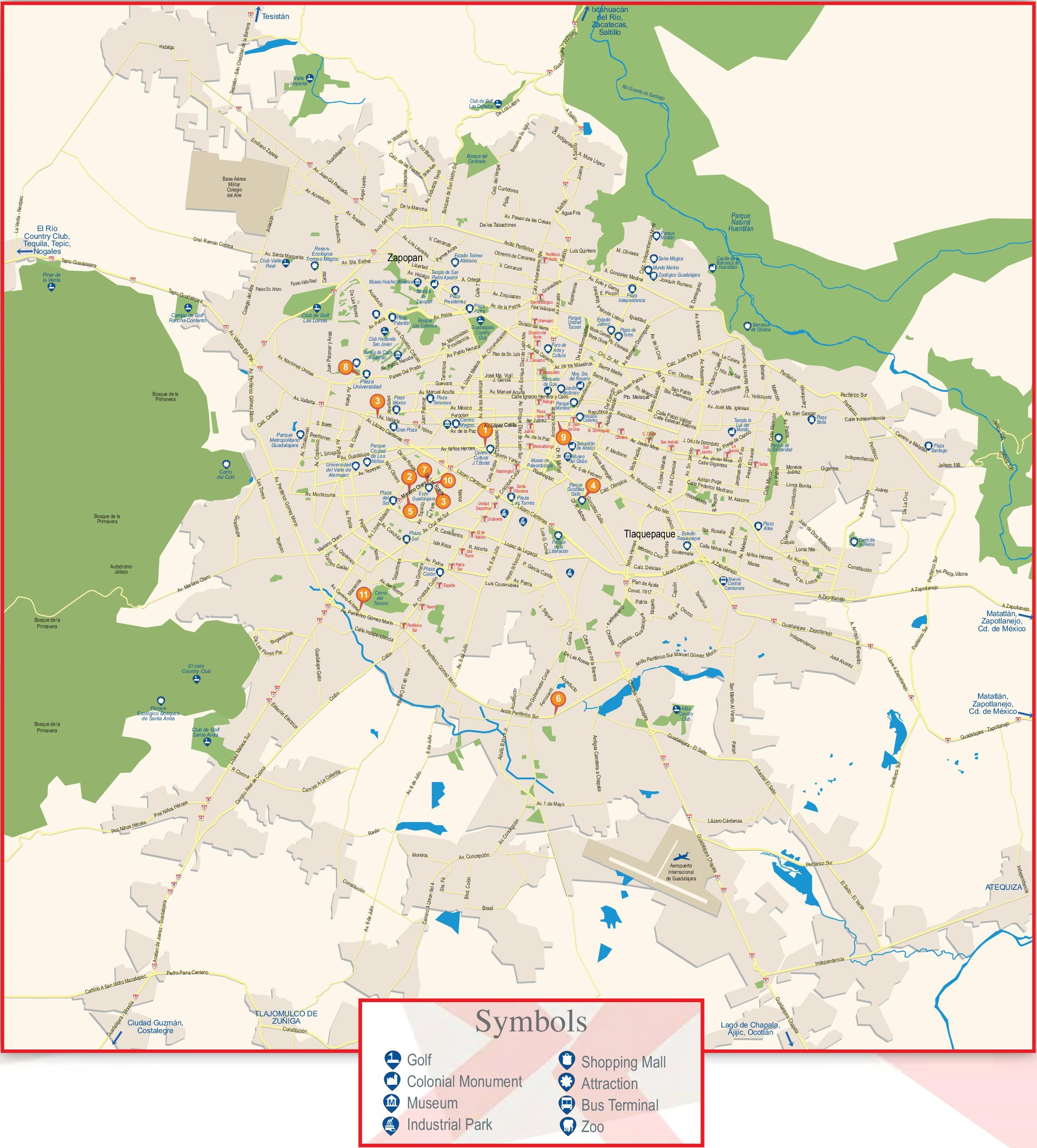 guadalajara tourist attractions map