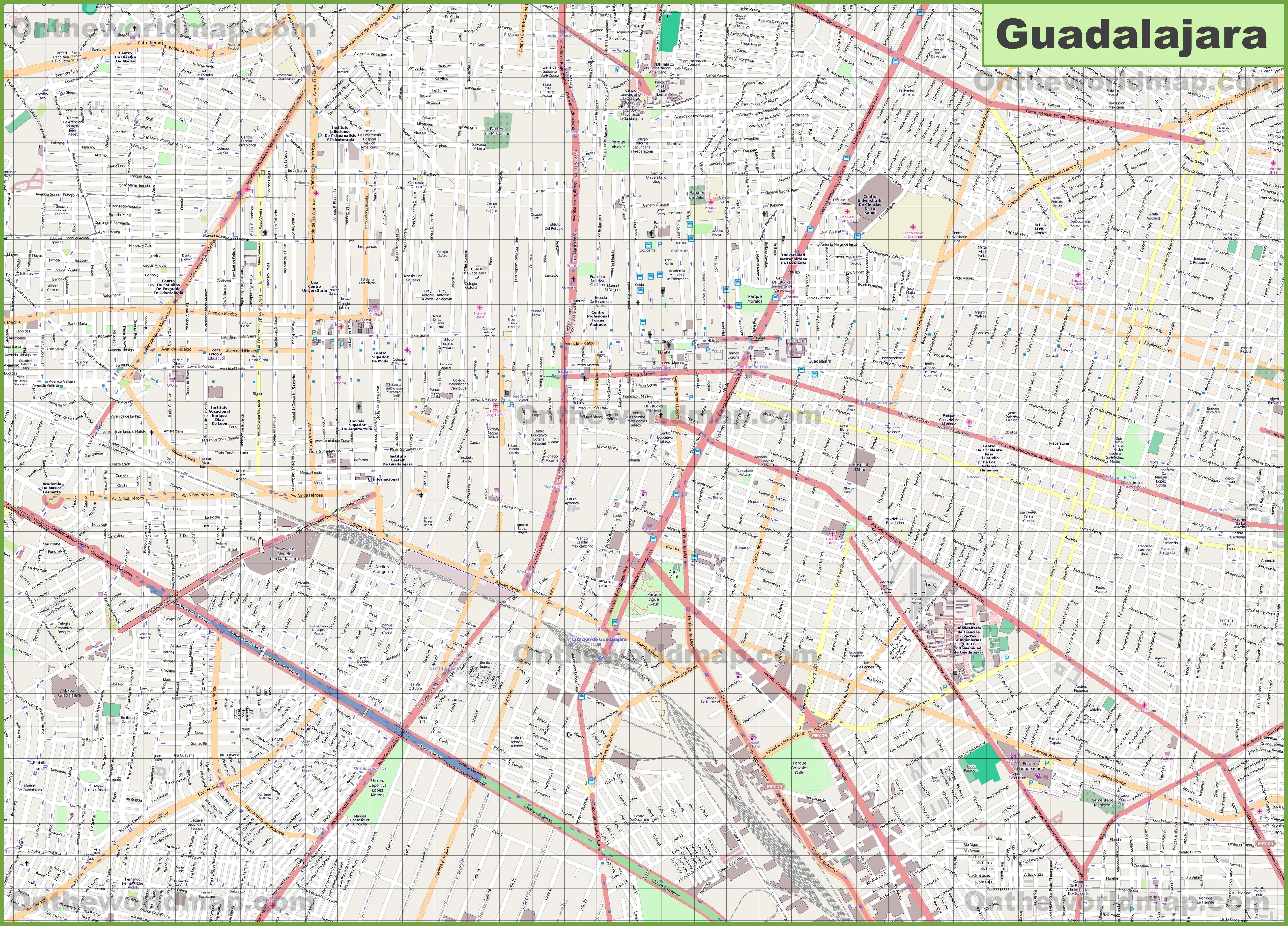 Large detailed map of Guadalajara