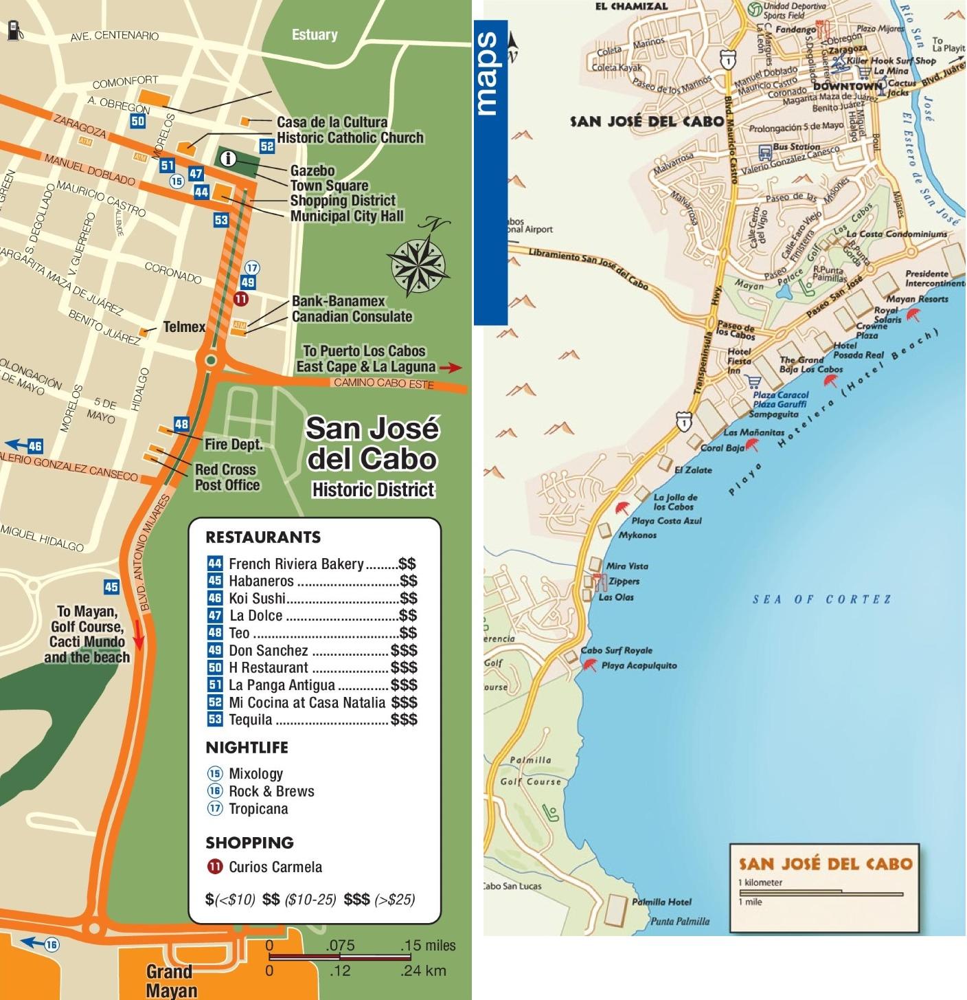 San Jose Del Cabo Mexico Map.San Jose Del Cabo Tourist Attractions Map