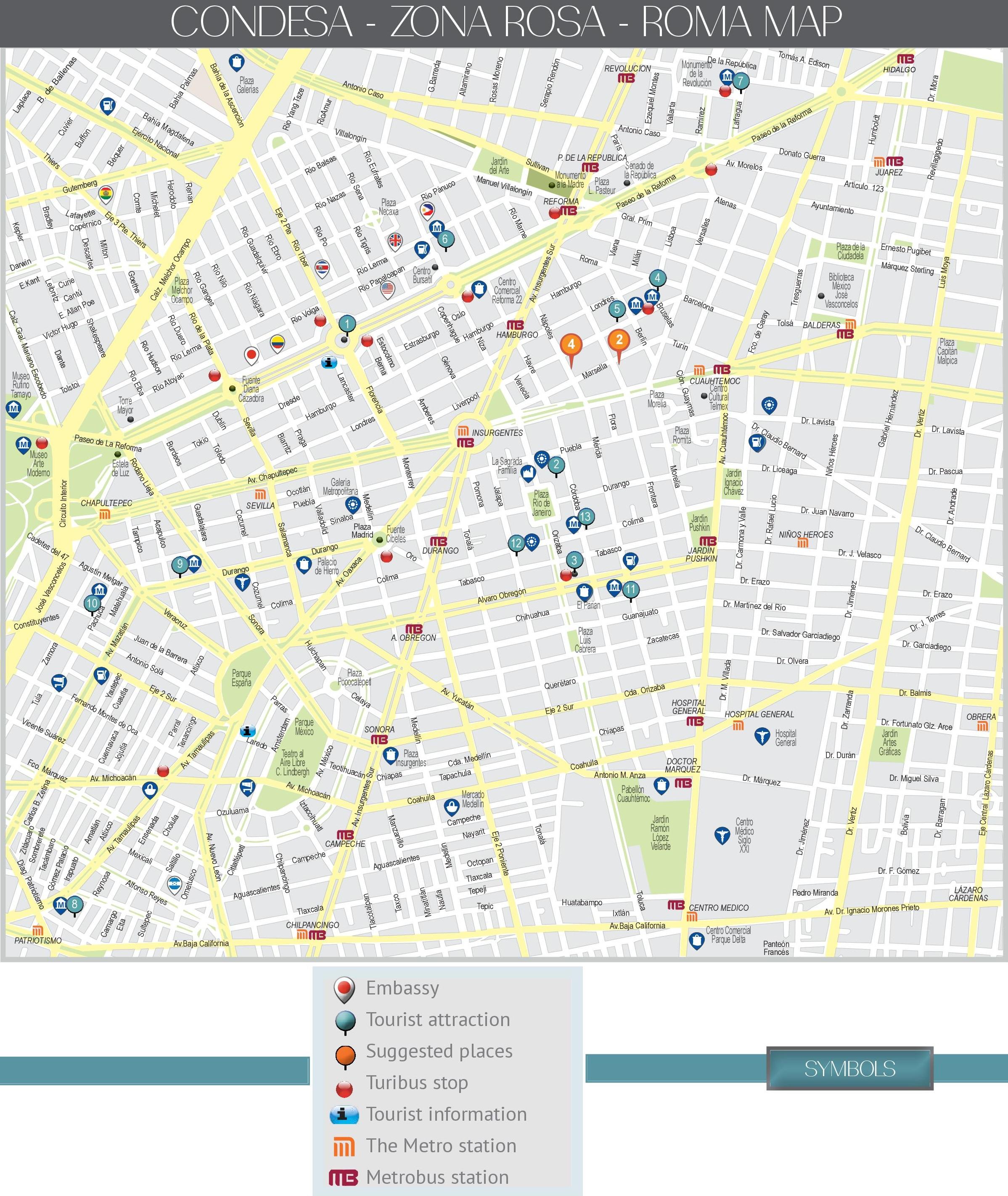 Zona Rosa Map Condesa, Zona Rosa and Roma map (Mexico City)