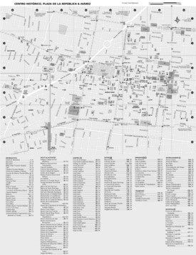 Mexico City historic center hotels and sightseeings map