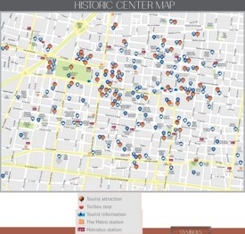 Mexico City historic center map
