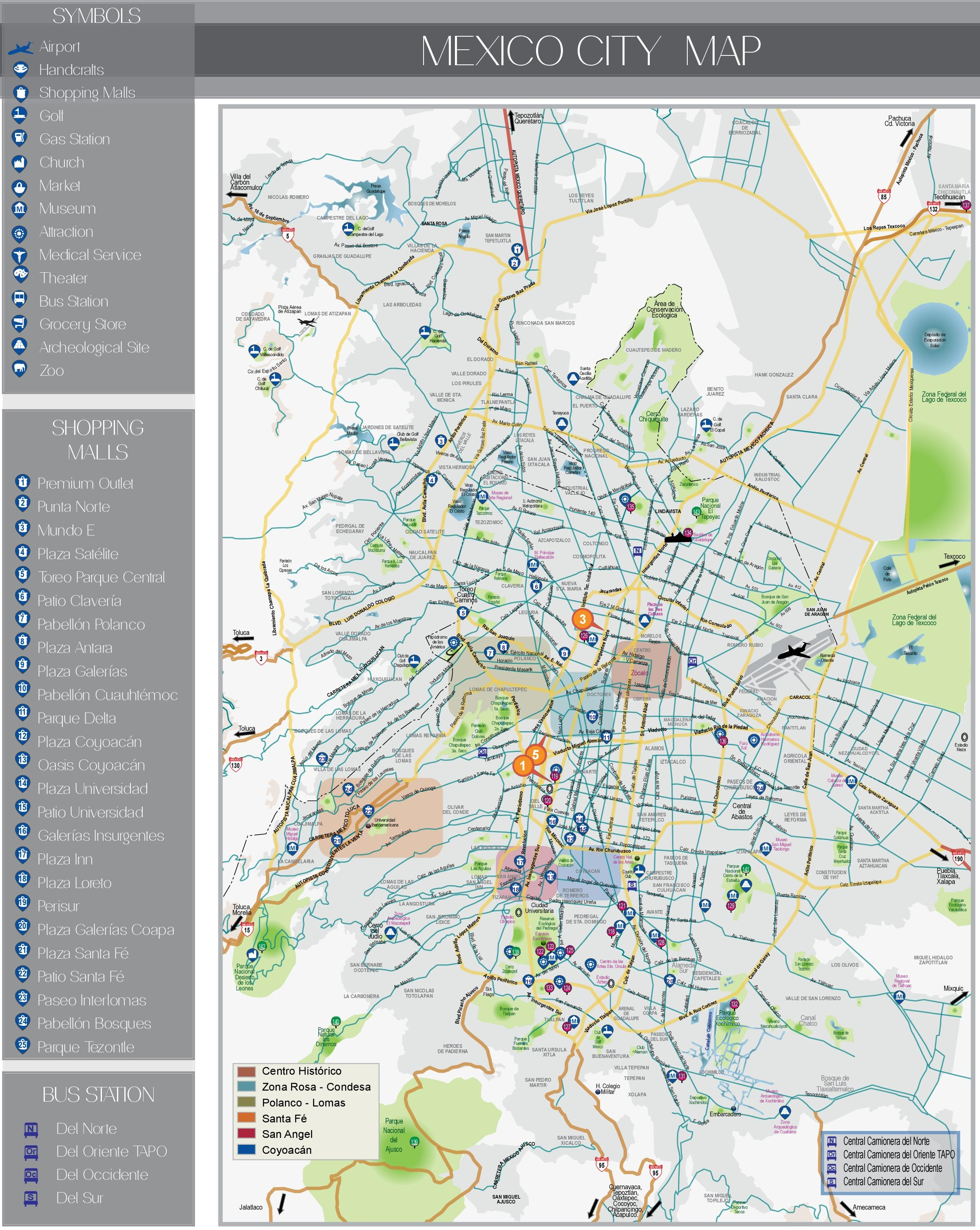 Mexico City Map Mexico City tourist attractions map Mexico City Map