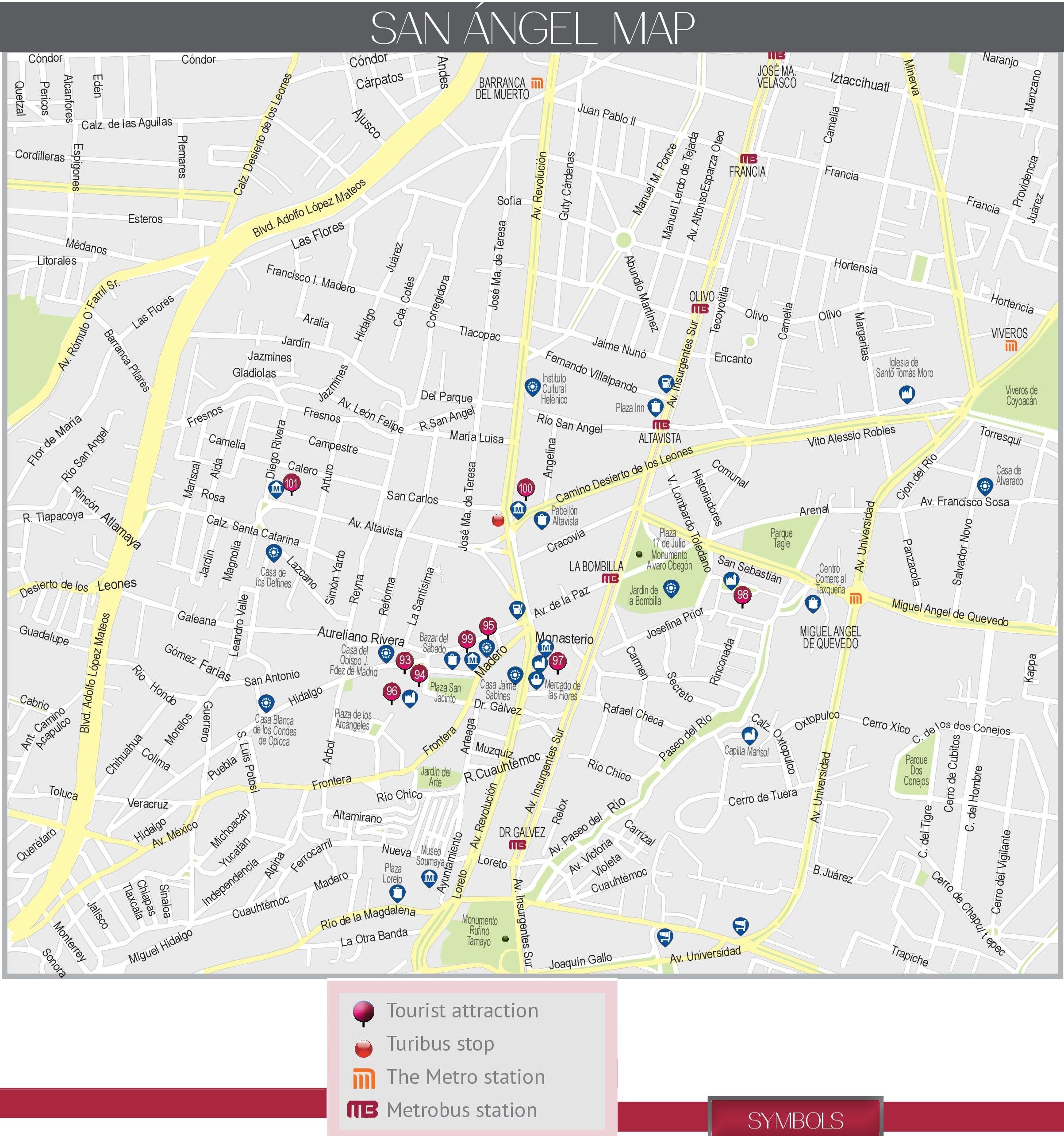 San ngel map Mexico City