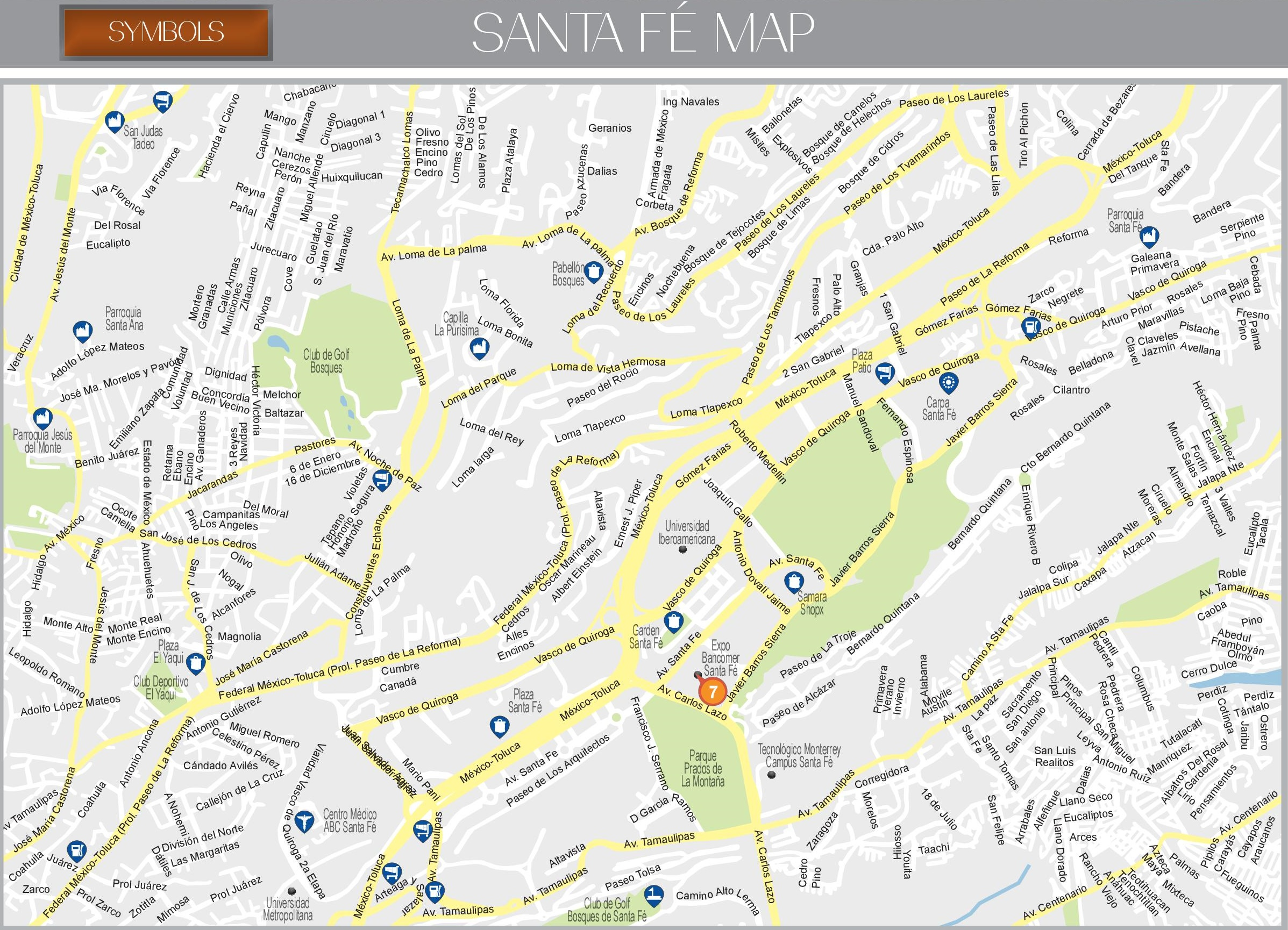 Santa Fe map (Mexico City)