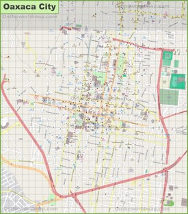 Large detailed map of Oaxaca City