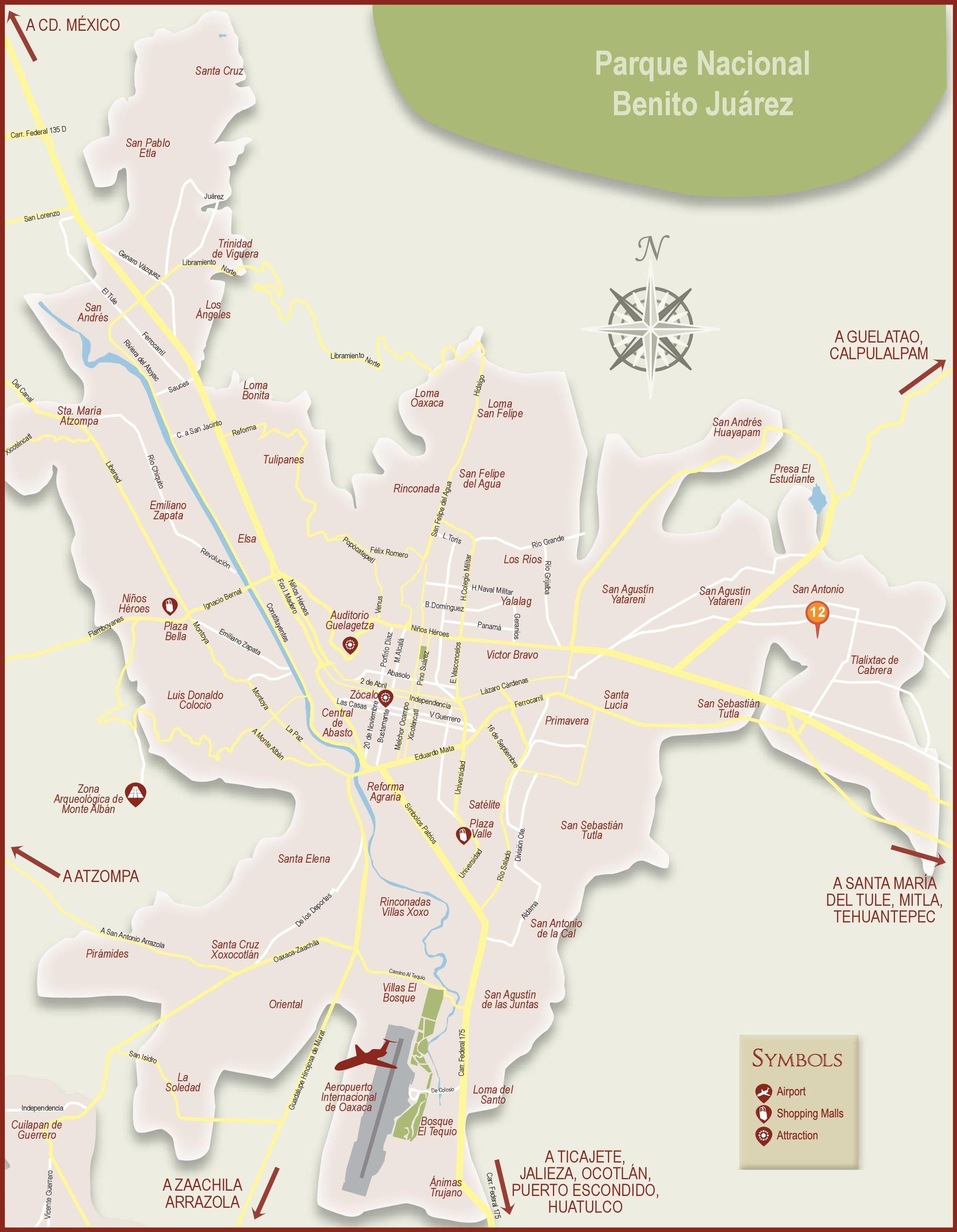 Oaxaca City Maps Mexico Maps of Oaxaca de Jurez