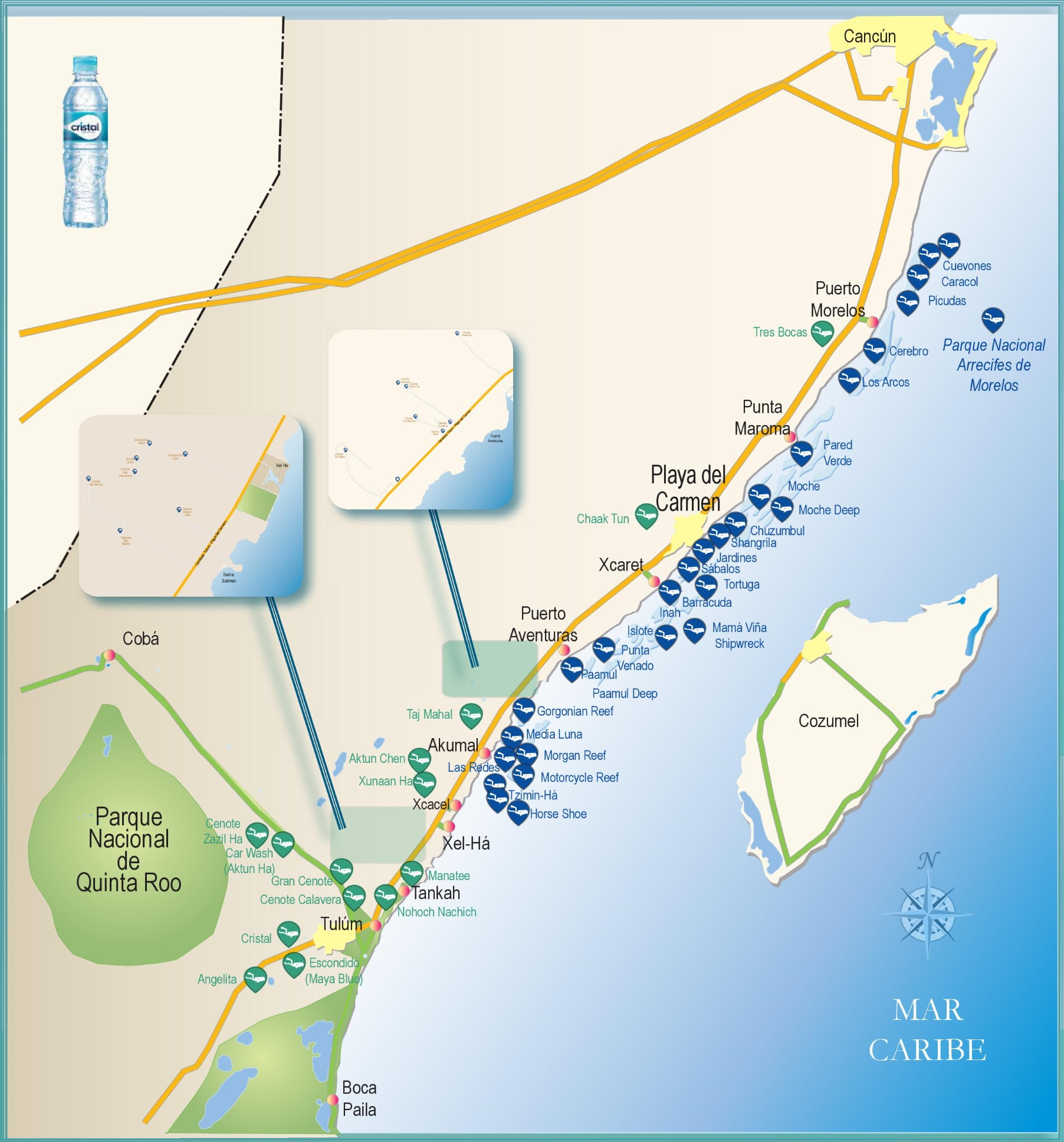 Riviera Maya diving map on