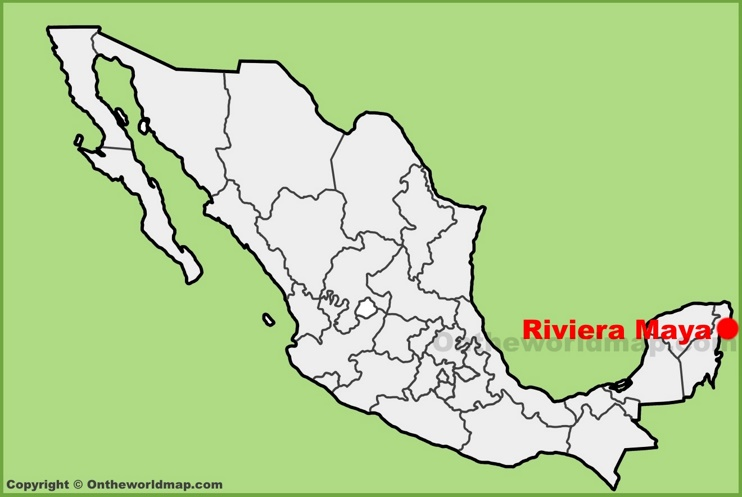 Riviera Maya location on the Mexico map