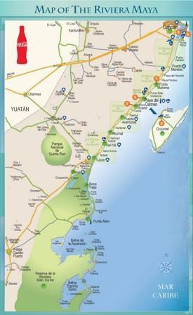 Riviera Maya tourist attractions map