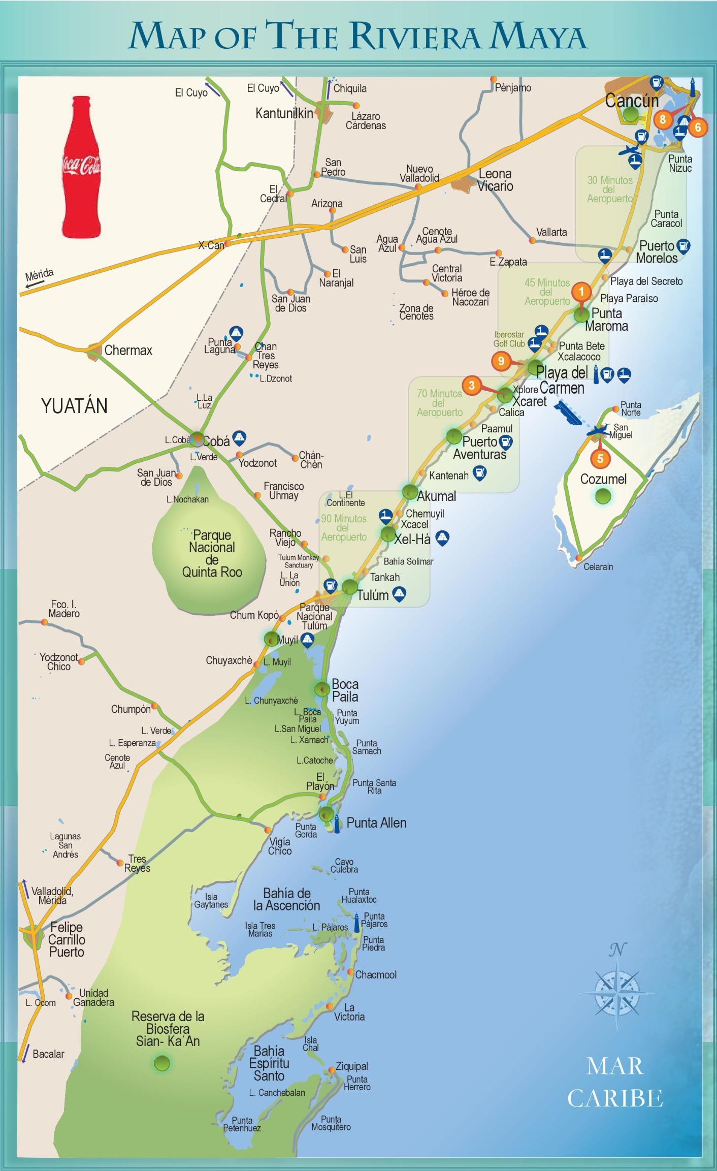 Riviera Maya Map Riviera Maya tourist attractions map Riviera Maya Map