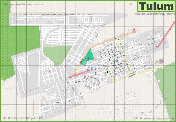 Large detailed map of Tulum
