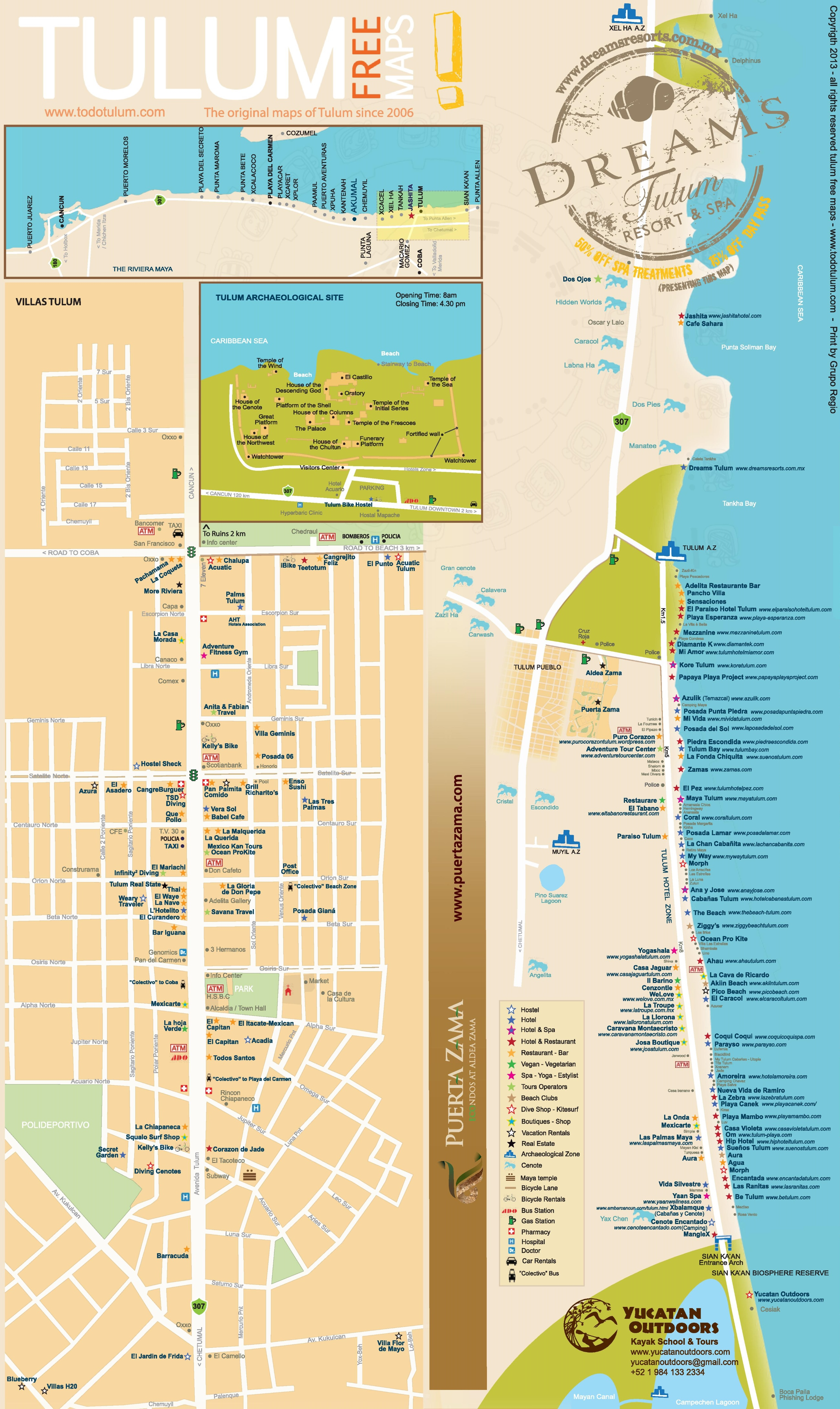 Tulum hotels and sightseeings map