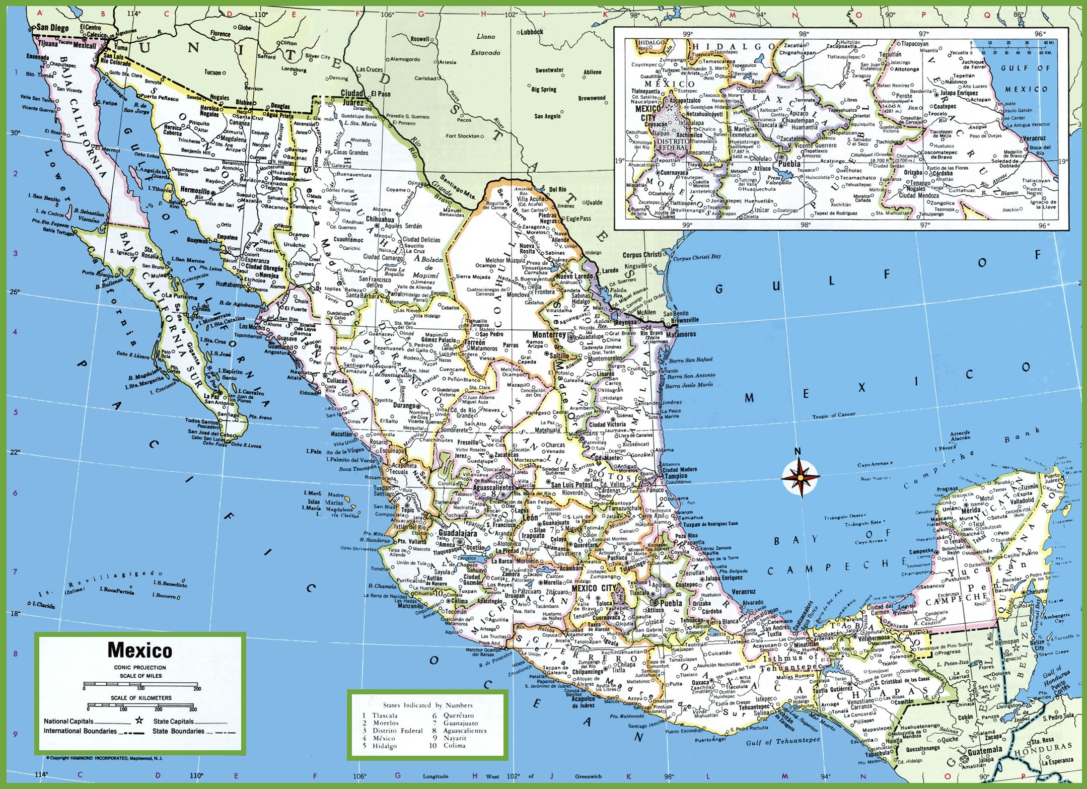 large detailed map of mexico with cities and towns mexico states map