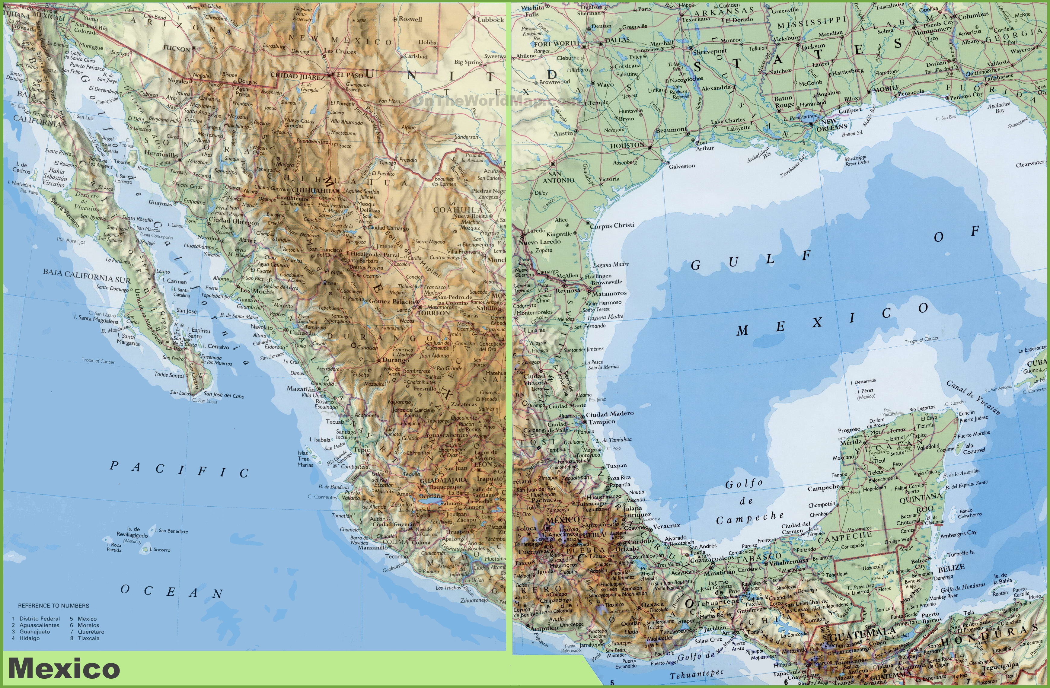 large detailed physical map of mexico. mexico maps  maps of united mexican states
