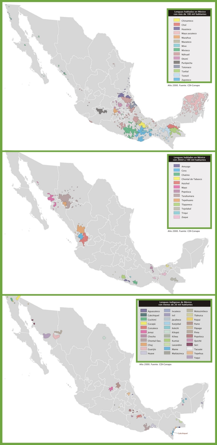 Map of languages in Mexico