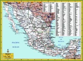 Map of Mexico with cities and towns