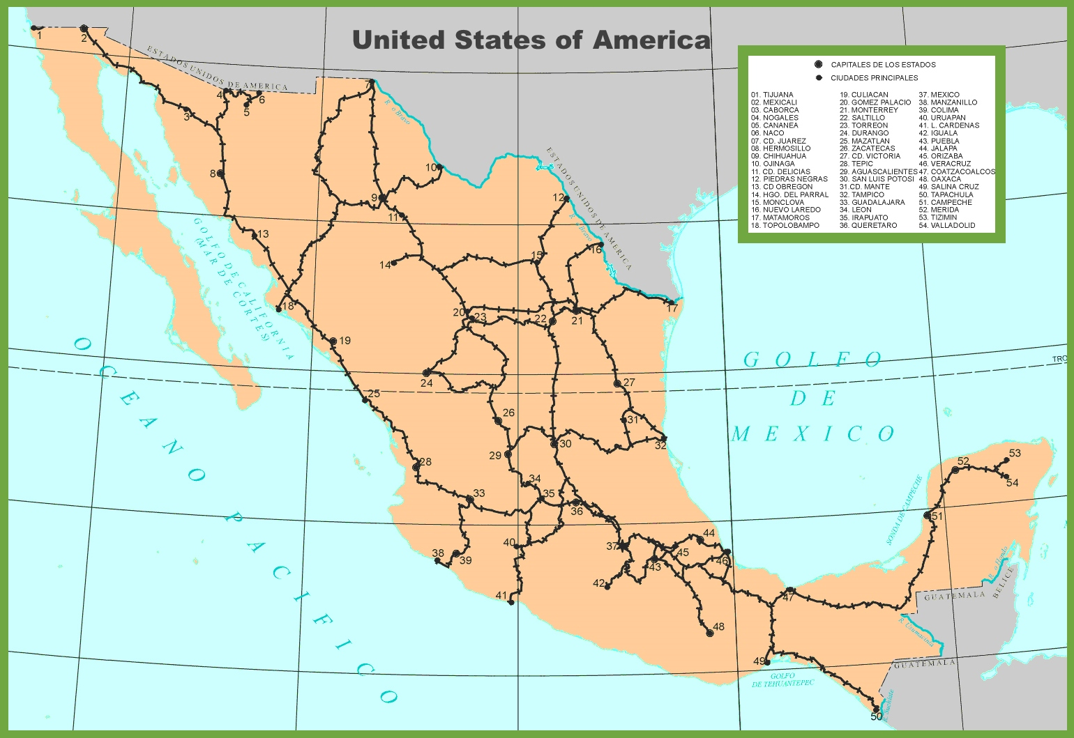 Obregon Mexico Map.Mexico Railway Map