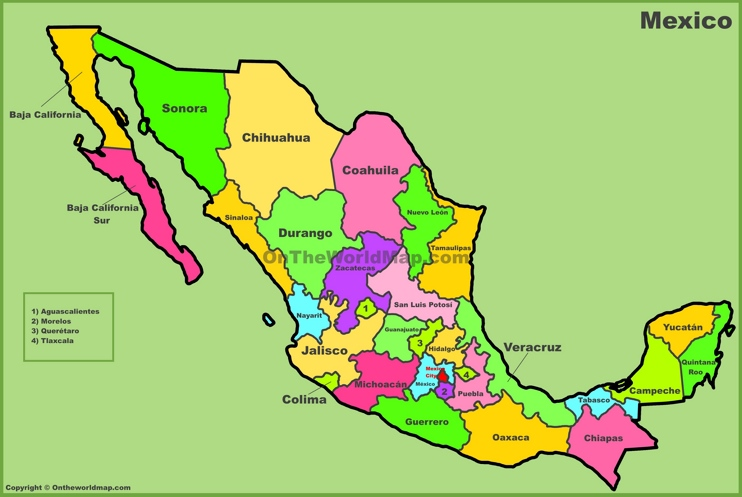 Mexico states map
