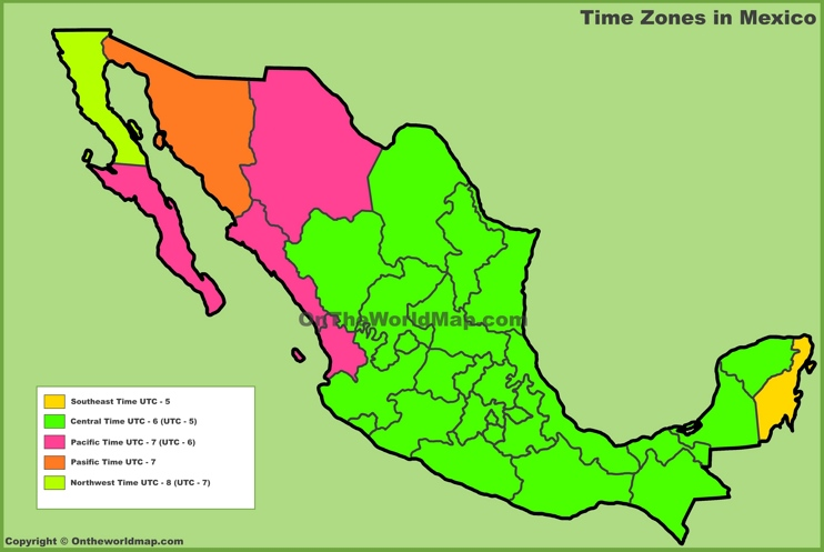 Mexico time zones map