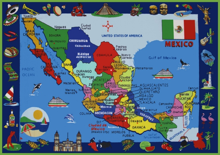 Pictorial travel map of Mexico
