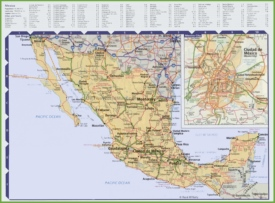 Road map of Mexico