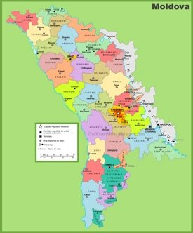 Administrative divisions map of Moldova